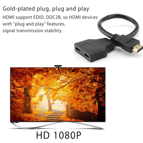 HDMI 2 Dual Port Y Splitter 1080P HDMI V1.4 Male to Double Female Adapter Cable 1 In 2 Out HDMI