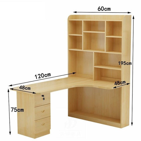 Mueble Bed Office Escritorio Tisch Bureau Meuble Para Notebook Biurko Retro Wooden Desk Stand Mesa Laptop Table With Bookcase