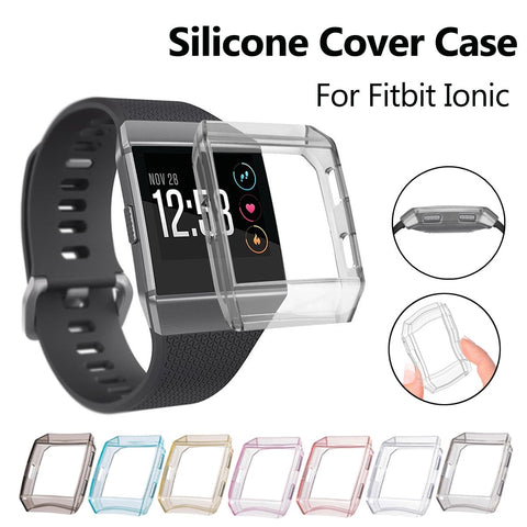 Multi Colors Silicone Frame Skin Cover Case Protective Guard Shell For Fitbit Ionic Smart Watch Band Screen Protector