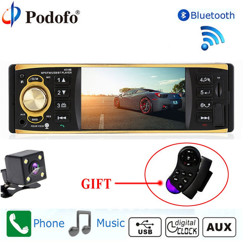 Car Stereo MP3 Player Radio USB AUX Bluetooth Rear view Camera Remote Control