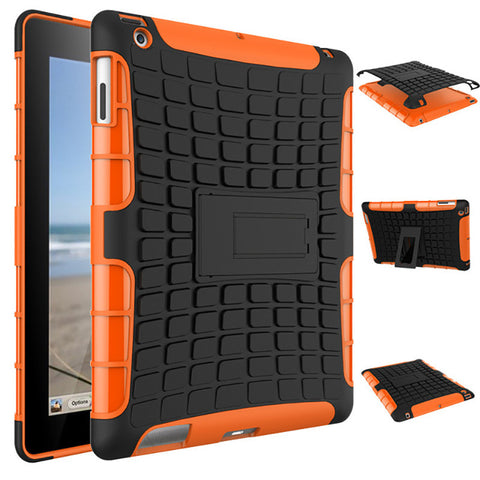 Heavy Duty Hybrid Silicone Stand Tire Pattern TPU Case for iPad 2 3 4