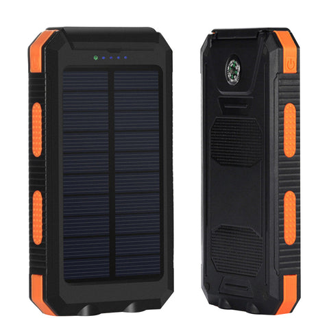 Universal Waterproof 8000mAh Solar Power Bank Dual USB Ports Portable Charger with Compass LED Lighting for Phone