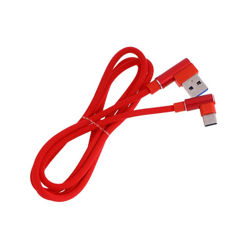 1M Right Angle USB Type C Cable Braided USB 2.4A S8 S9 Android