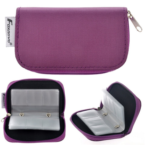 22-Slots SD Card Holder Case Zippered Storage Bag Protector (Purple)