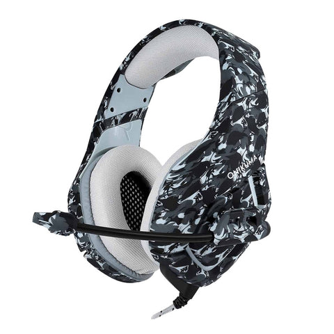 K1-B Gaming Headset Wired Stereo Game Headphones Noise-canceling Gaming Headphone with Mic for PS4 Xbox Laptop Computer Cellphone (Grey Camo)