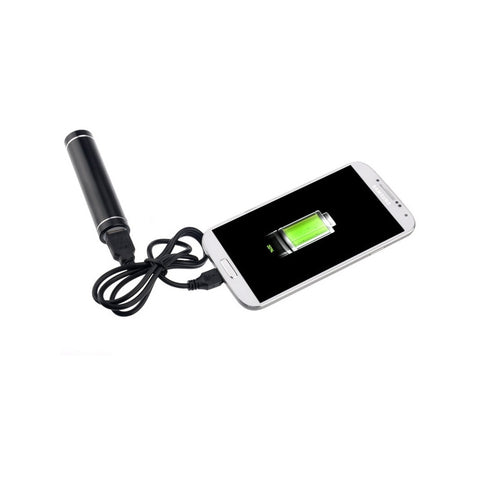 2200mAh Lipstick Shaped External Power Bank charger (Black)