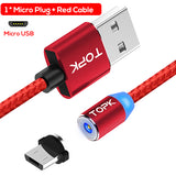 TOPK 1M & 2M LED Magnetic Cable & Micro USB Cable & USB Type C Cable Nylon Braided Type-C Magnet Charger Cable for iPhone Xs Max