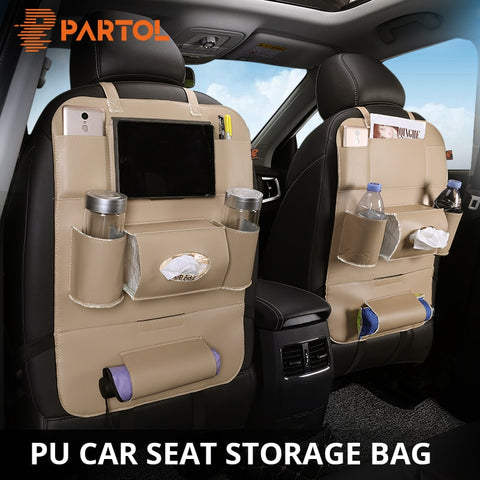 Rear Seat Storage Organizer | Multi-Pocket | PU Leather Stowing & Protector Drink holder
