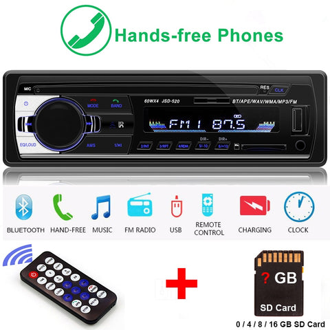 Car Stereo Bluetooth FM Remote Hands Free Call AUX MP3/WMA/WMV/OGG/APE/ACC/FLAC