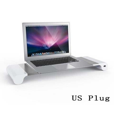 Laptop Tablet Stands Computer Monitor Stand Holder Desk 4 USB Charging Ports for Smartphone Keyboard Storage for Laptop Tablet