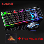 Suspended Colorful LED Light USB Gaming Keyboard Waterproof Ergonomic Gamer Keyboard Mouse Combo Set  For Computer PC Gamer