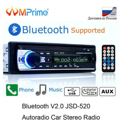 Car Stereo Bluetooth 12V In-dash 1 Din AUX-IN MP3 FM Receiver SD USB WMA with remote