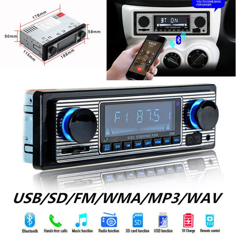 Retro Car Stereo Classic FM Bluetooth MP3 USB SD U-disk WMA