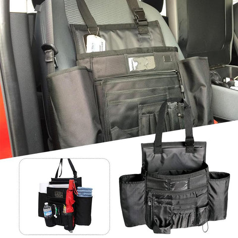 Front Seat Passenger Multi-Pocket Organizer | Water Bottle Holder | Storage Bag For Laptop Tablet | Travel Office