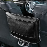 Leather Car Storage Organizer Bag | Middle Access | Hanging Behind and Between Front Seats