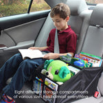 Car Seat Organizer Great for Adults & Kids Featuring 8 Storage Compartments | Easily sits in Front or Back seat