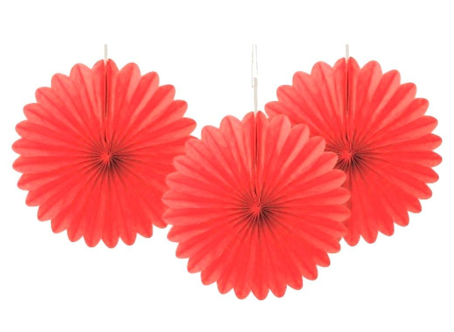 Decorative Fans - Red (Pack of 3)