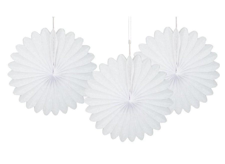 Decorative Fans - White (Pack of 3)