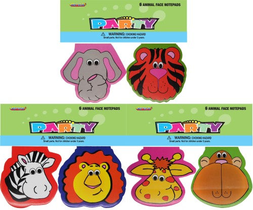 Animal Face Note Pad Party Favours (Pack of 6)