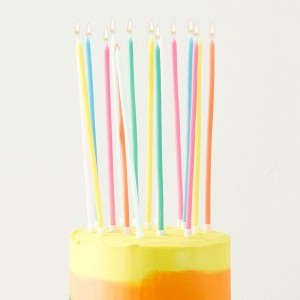 Birthday Brights Long Thin Candles (Pack of 16)