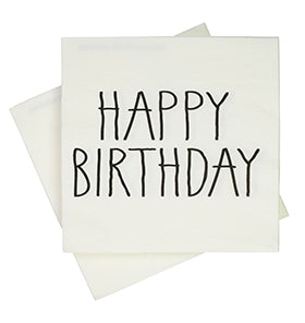 Black Print Happy Birthday Napkins (Pack of 20)