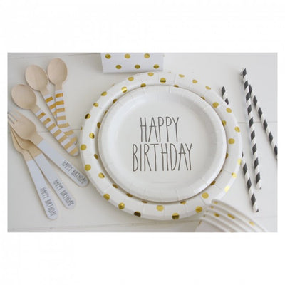 Black Print Happy Birthday Cake Plates Pack Of 12