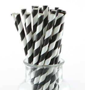 Black Striped Paper Straws (Pack of 24)