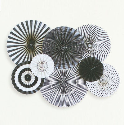 Black and White Party Fans (Pack of 8)