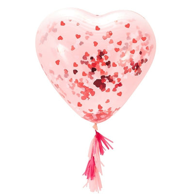 Giant Heart Shaped Confetti Filled Balloon with Tassels