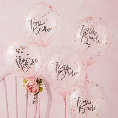 Floral Team Bride Confetti Balloons (5 Pack)