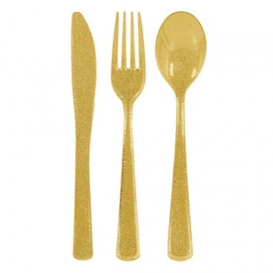 Glittering Gold Cutlery Set (Pack of 48)