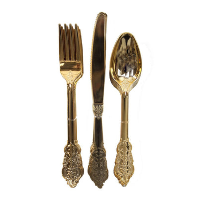 Party Porcelain Gold Cutlery Set (Pack of 18)
