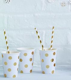 White with Gold Foil Polkadot Cups (Pack of 12)
