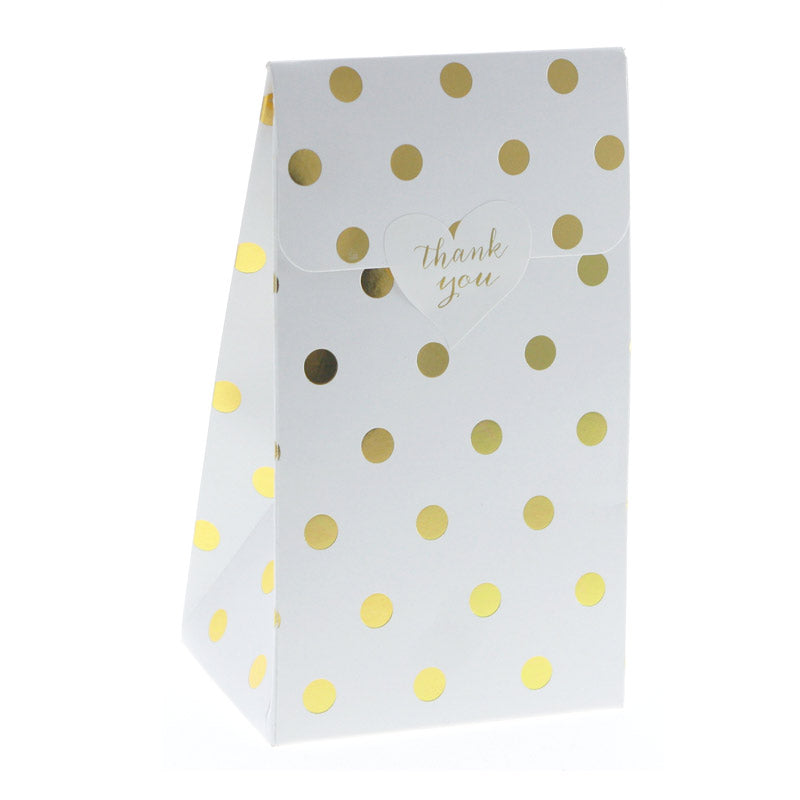 White with Gold Foil Polkadot Treat Boxes (Pack of 12)