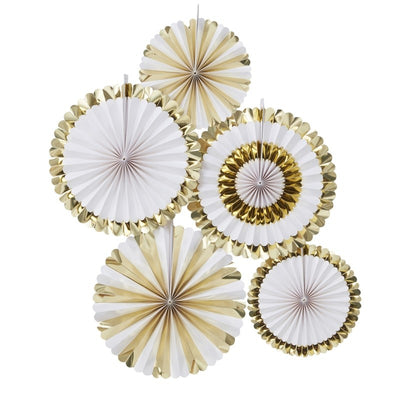 Gold Foiled Fan Decorations (Pack of 5)