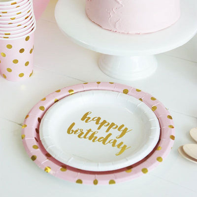 Gold Foil Happy Birthday Cake Plates Pack Of 12