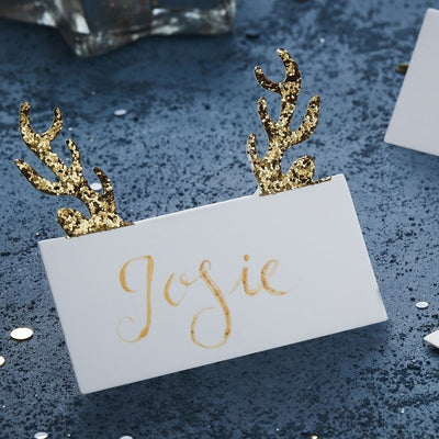 Gold Glitter Antler Place Cards (Pack of 10)