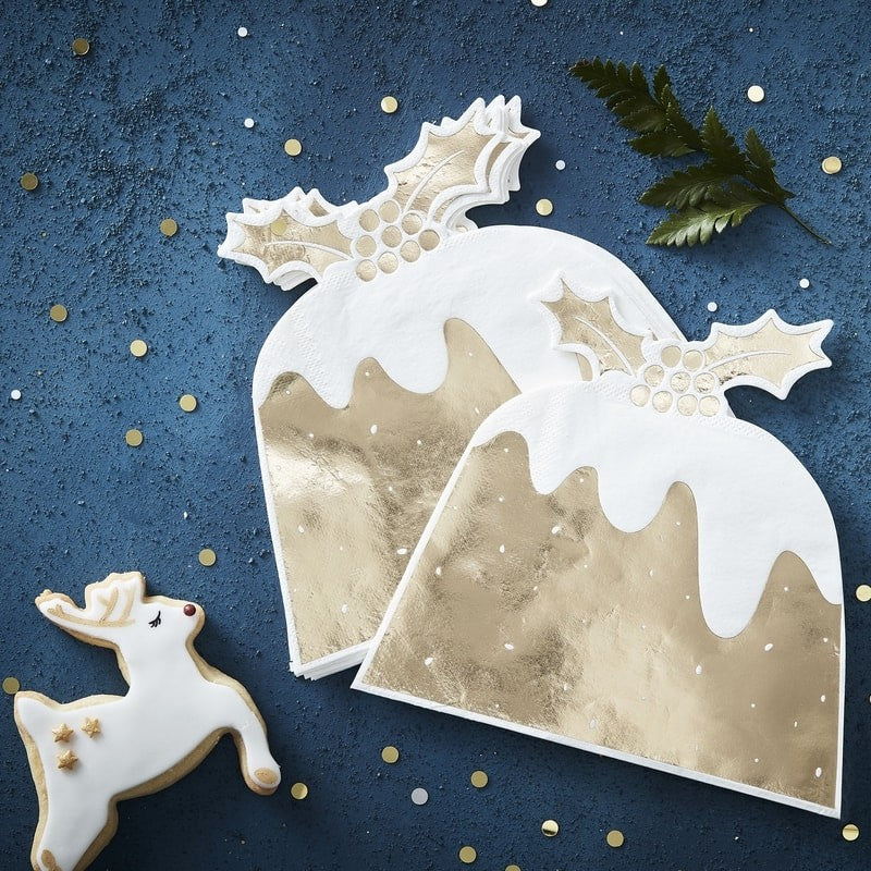 Gold Foil Christmas Pudding Napkins (Pack of 12)