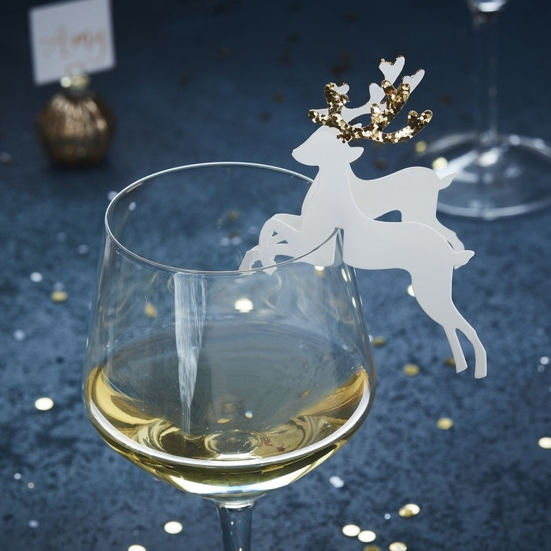 Gold Glitter Reindeer Glass Decoration (Pack of 10)