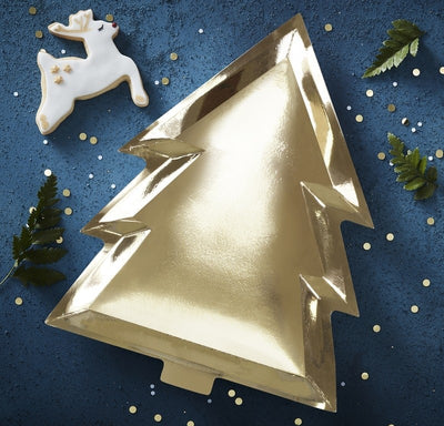 Gold Foil Christmas Tree Shape Plates (Pack of 6)