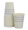 Grey French Stripe Cups (Pack of 12)