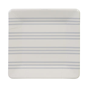 Grey French Stripe Plates (Pack of 12)