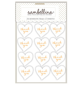 Heart Thank You Sticker Seals - White with Gold (Pack of 24)
