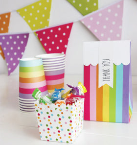 Rainbow Stripe Square Plates (Pack of 12)