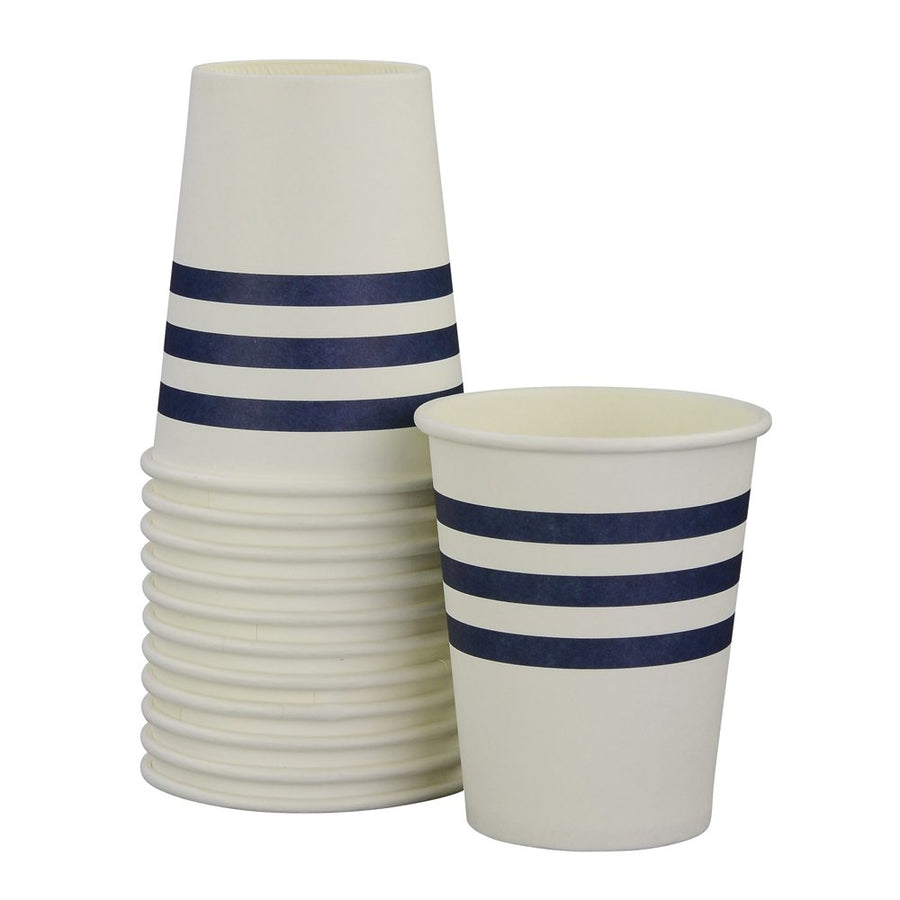 Navy French Stripe Cups (Pack of 12)