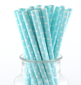 Pale Blue Polkadot Paper Straws (Pack of 24)
