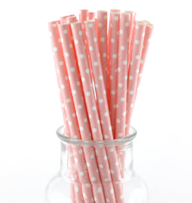 Pale Pink Polkadot Paper Straws (Pack of 24)