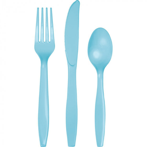 Pastel Blue Cutlery Set (Pack of 24)