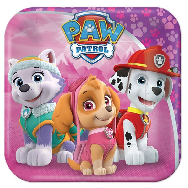 Paw Patrol Girl Square Lunch Plates (Pack of 8)