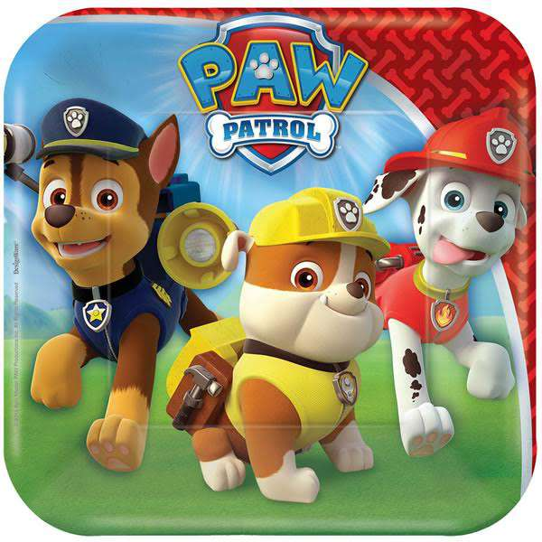 Paw Patrol Square Lunch Plates (Pack of 8)